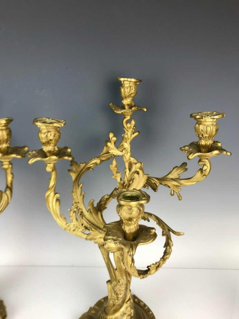 A VERY FINE PAIR OF DORE BRONZE CANDELABRA - 3