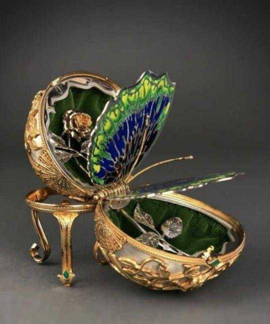 FABERGE 24KT GOLD OVER STERLING SILVER BUTTERFLY EGG - 2