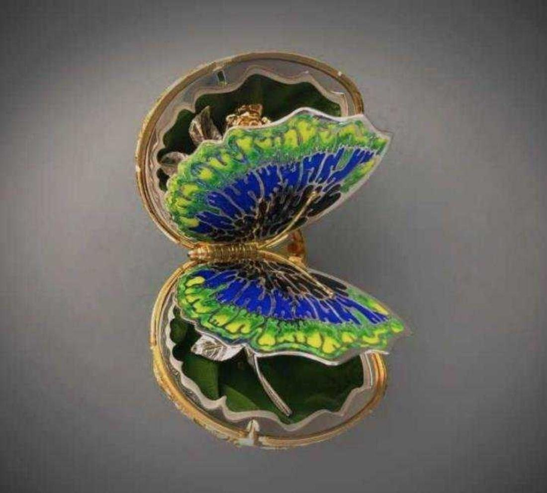FABERGE 24KT GOLD OVER STERLING SILVER BUTTERFLY EGG - 3
