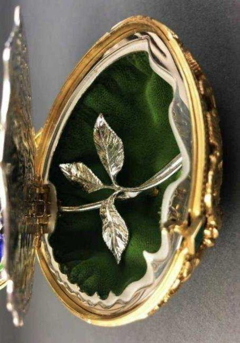 FABERGE 24KT GOLD OVER STERLING SILVER BUTTERFLY EGG - 5