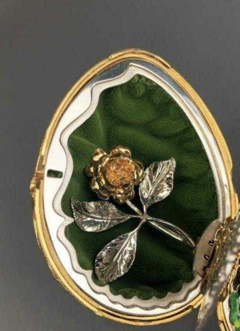 FABERGE 24KT GOLD OVER STERLING SILVER BUTTERFLY EGG - 6