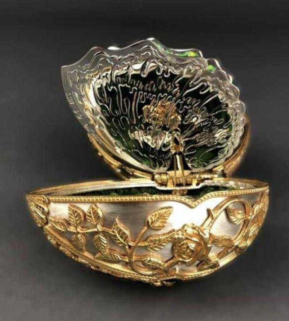 FABERGE 24KT GOLD OVER STERLING SILVER BUTTERFLY EGG - 8