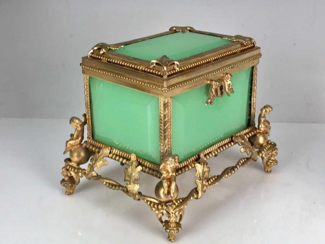 19TH C. OPALINE AND DORE BRONZE BOX