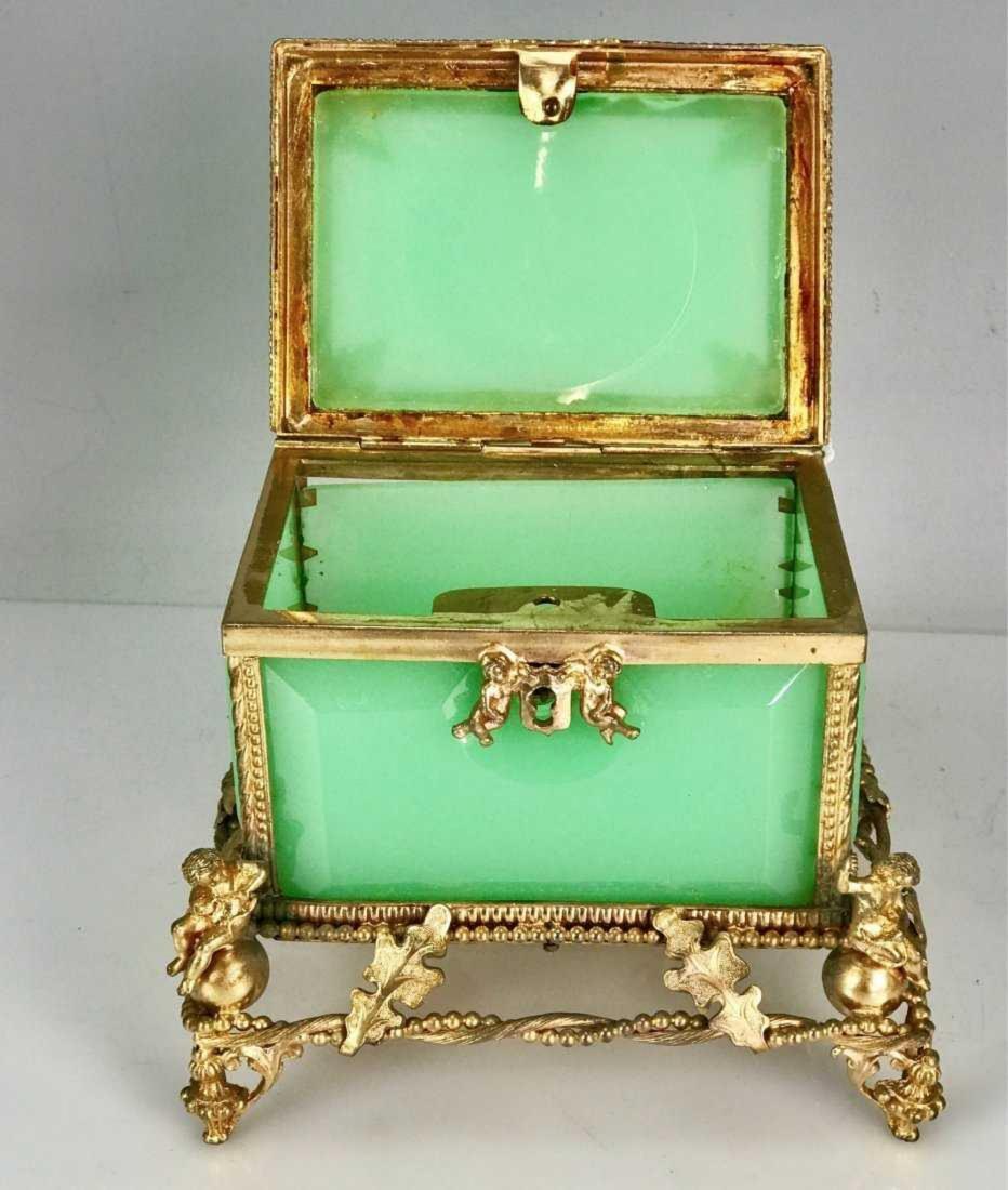 19TH C. OPALINE AND DORE BRONZE BOX - 4