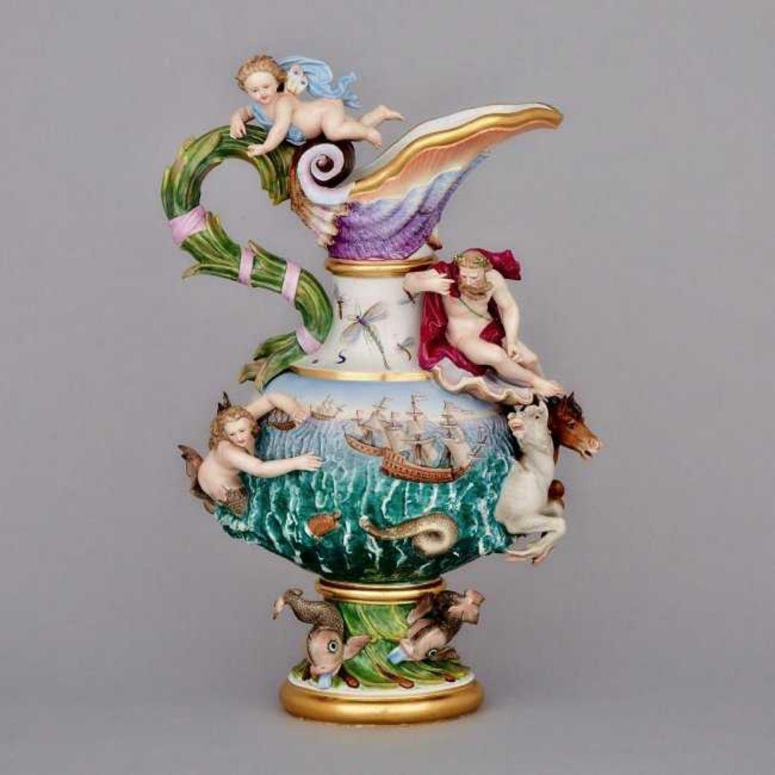 19TH C. MEISSEN EWER DEPICTING WATER