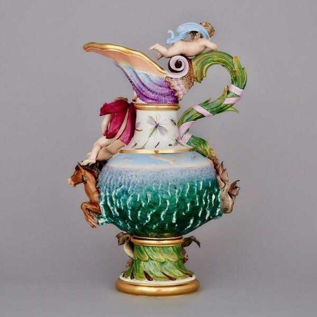 19TH C. MEISSEN EWER DEPICTING WATER - 2