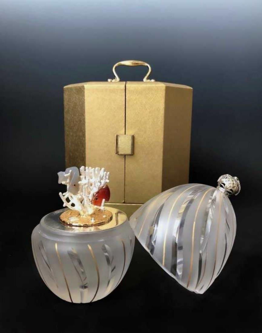 THE THEO FABERGE STERLING & CRYSTAL CORRAL EGG