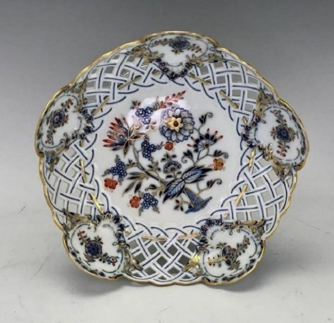19TH C. RETICULATED MEISSEN DESSERT SET - 2
