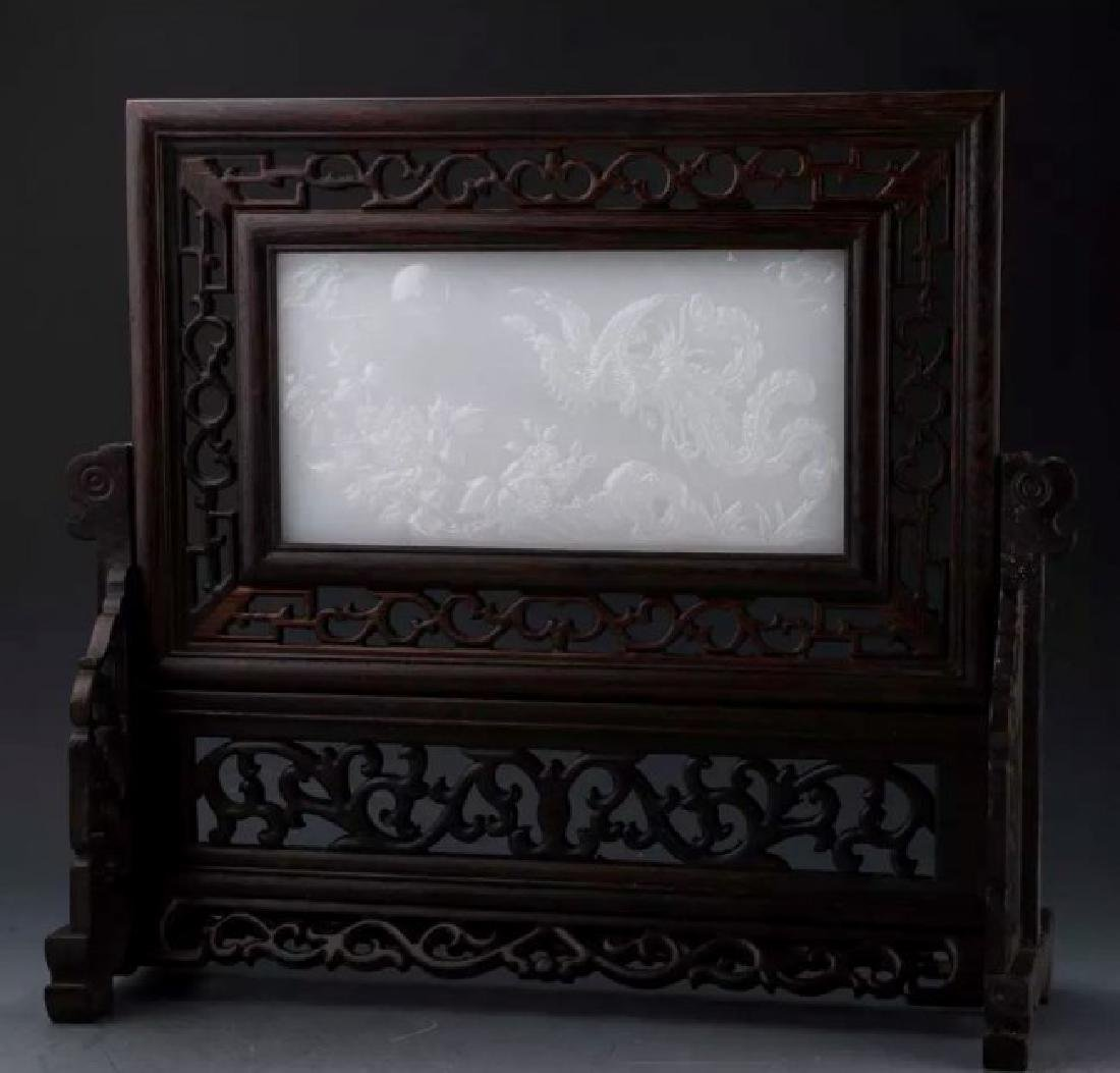 CHINESE CARVED WOOD AND WHITE JADE TABLE SCREEN
