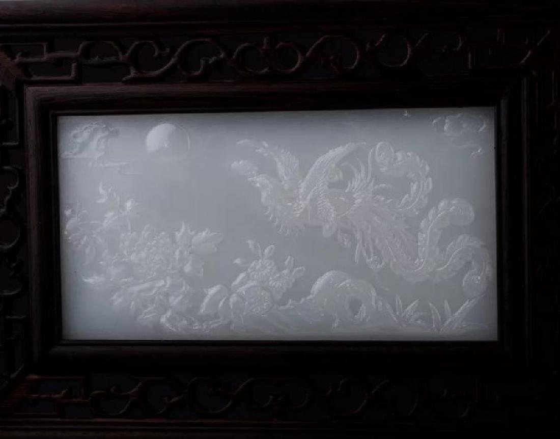 CHINESE CARVED WOOD AND WHITE JADE TABLE SCREEN - 2