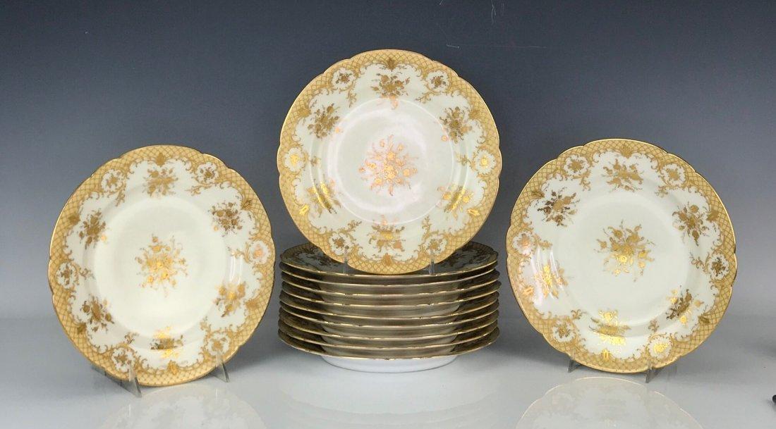 SET OF 12 GILT LAMB DRESDEN DINNER PLATES