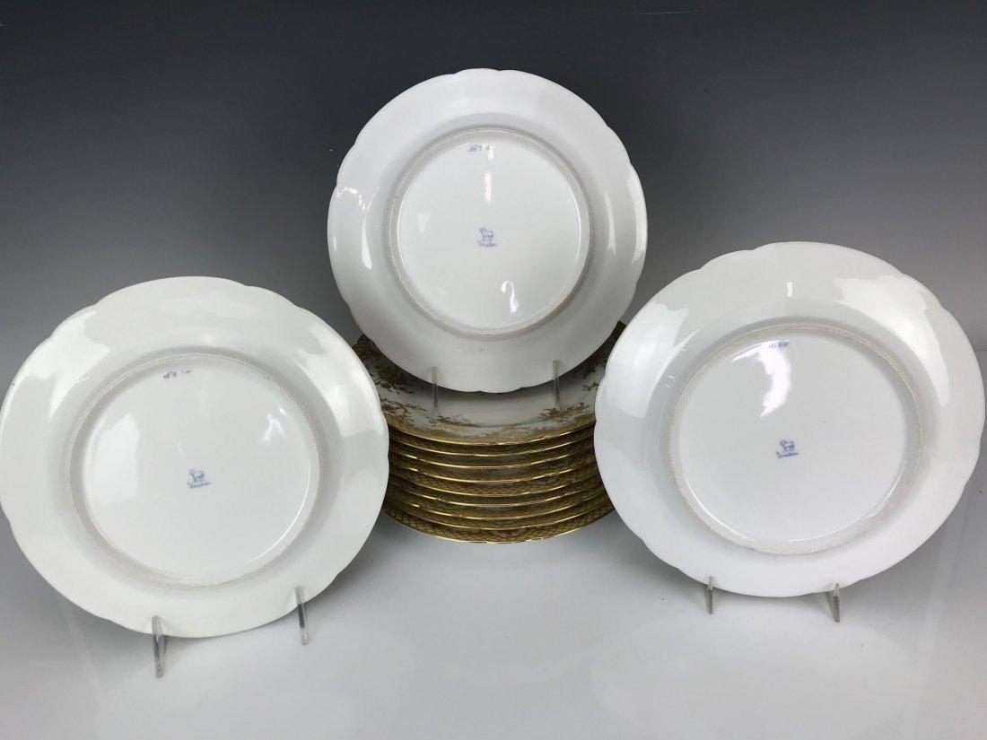SET OF 12 GILT LAMB DRESDEN DINNER PLATES - 3