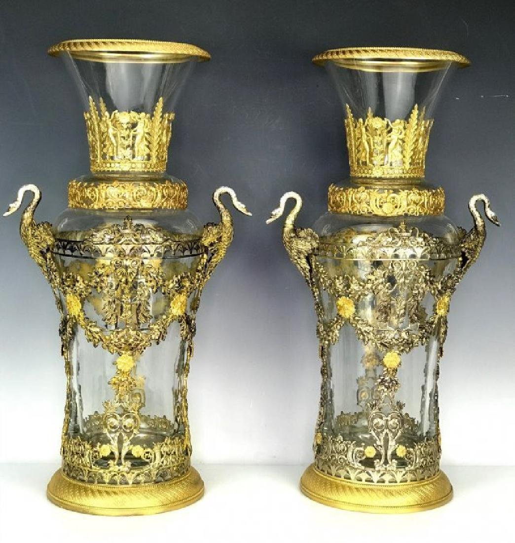 LARGE PAIR OF DORE BRONZE MOUNTED BACCARAT GLASS VASES