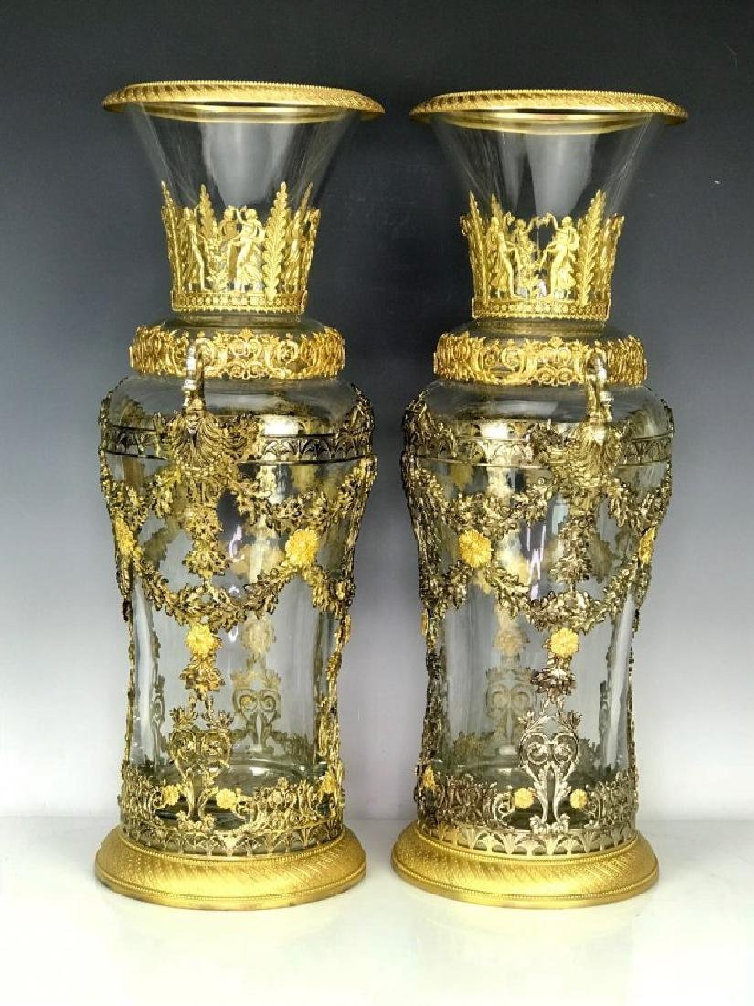 LARGE PAIR OF DORE BRONZE MOUNTED BACCARAT GLASS VASES - 2