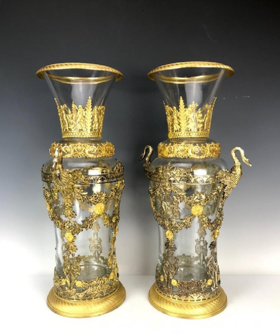 LARGE PAIR OF DORE BRONZE MOUNTED BACCARAT GLASS VASES - 3