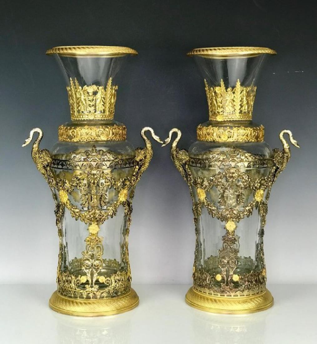 LARGE PAIR OF DORE BRONZE MOUNTED BACCARAT GLASS VASES - 4