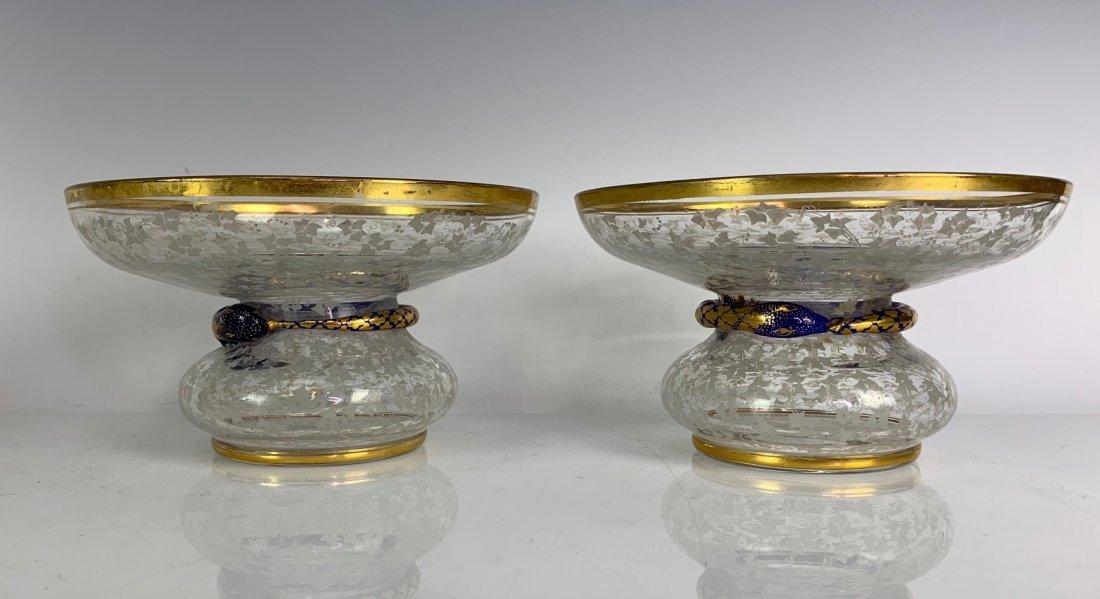 A PAIR OF 19TH C. BOHEMIAN GLASS BONBONIERE