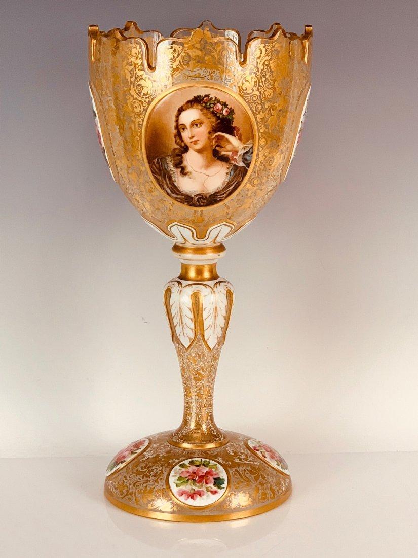 LARGE BOHEMIAN OVERLAY GLASS CENTERPIECE CIRCA 1880
