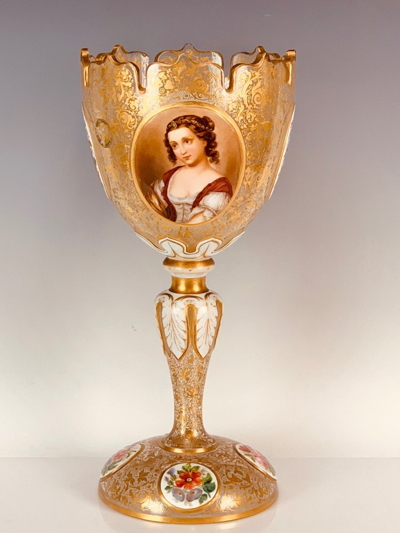 LARGE BOHEMIAN OVERLAY GLASS CENTERPIECE CIRCA 1880 - 2