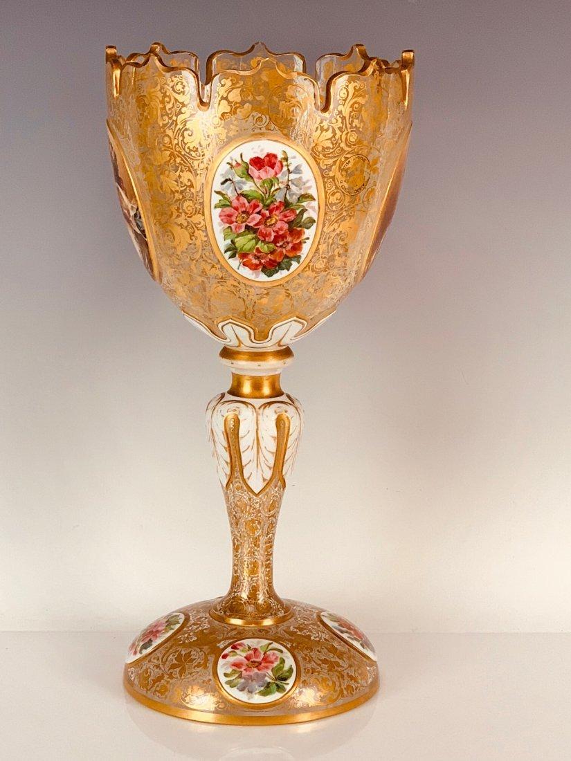 LARGE BOHEMIAN OVERLAY GLASS CENTERPIECE CIRCA 1880 - 4