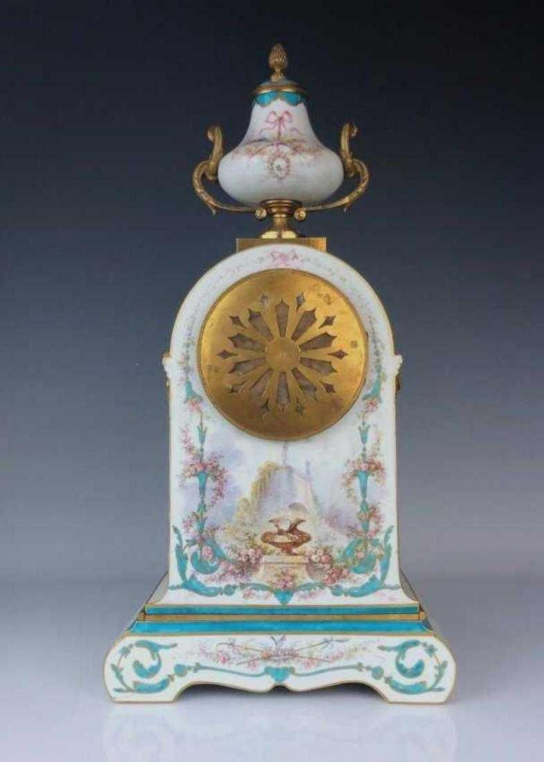 A GOOD 19TH C. SEVRES AND ORMOLU CLOCK SET - 6