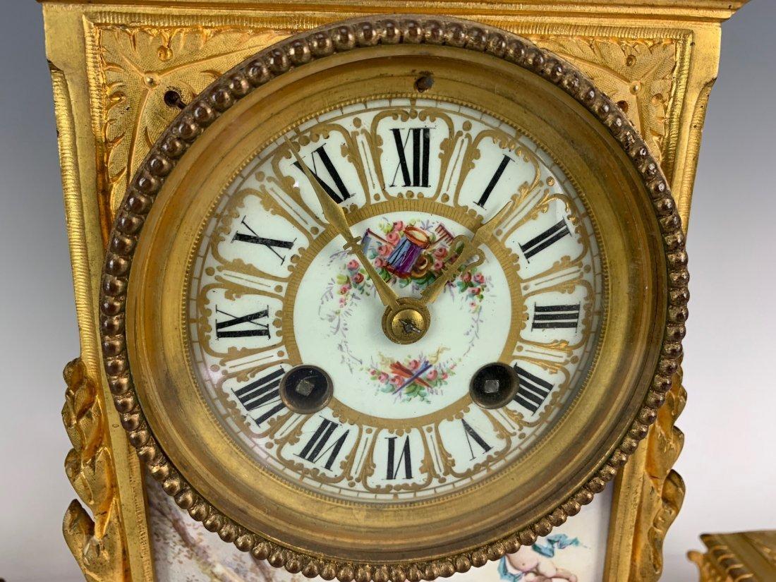 19TH C. DORE BRONZE AND SEVRES PORCELAIN CLOCK SET - 3