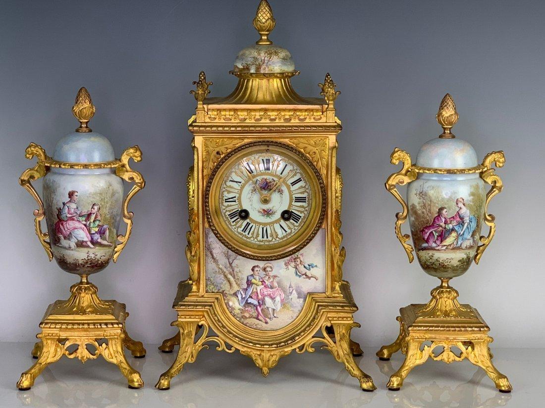 19TH C. DORE BRONZE AND SEVRES PORCELAIN CLOCK SET - 6