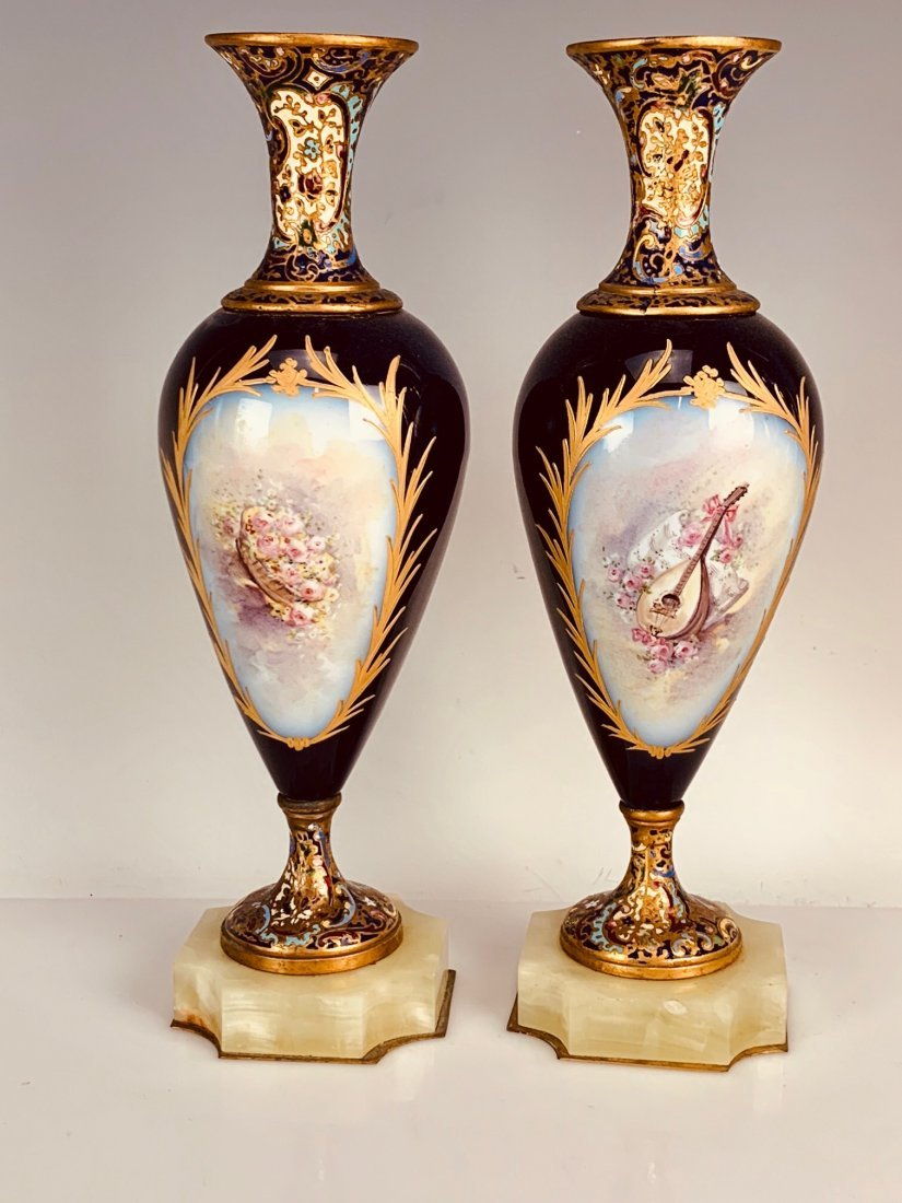 A PAIR OF FRENCH CHAMPLEVE ENAMEL & SEVRES VASES - 2