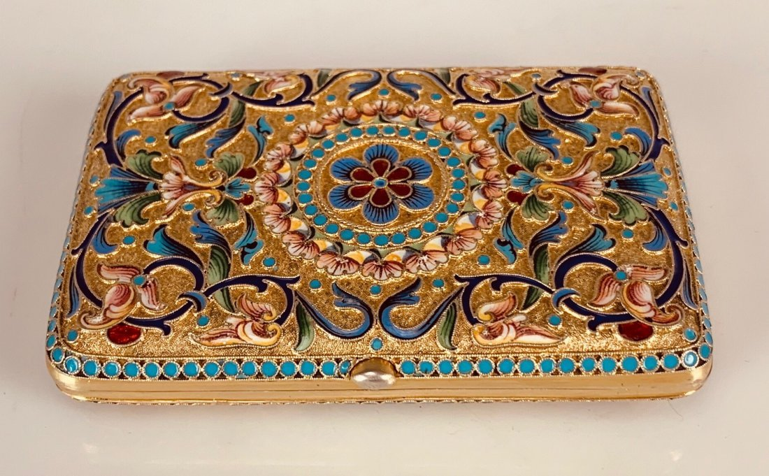 A GILT RUSSIAN ENAMEL SILVER CIGARETTE CASE - 2