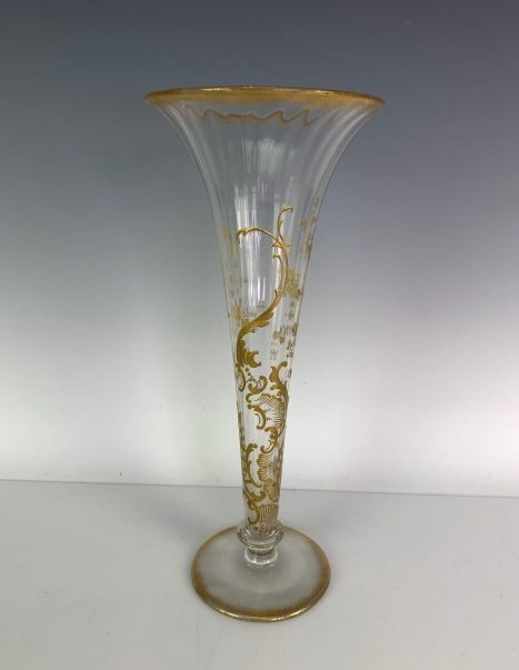 LARGE GILT MOSER VASE