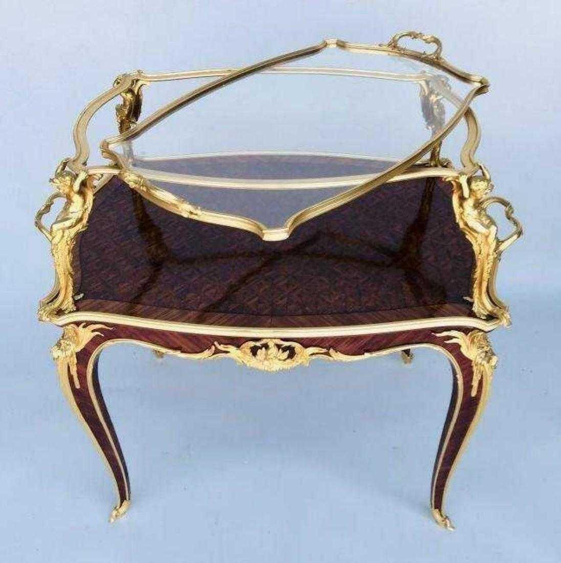 ORMOLU MOUNTED KINGWOOD TEA TABLE SIGNED LINKE - 5