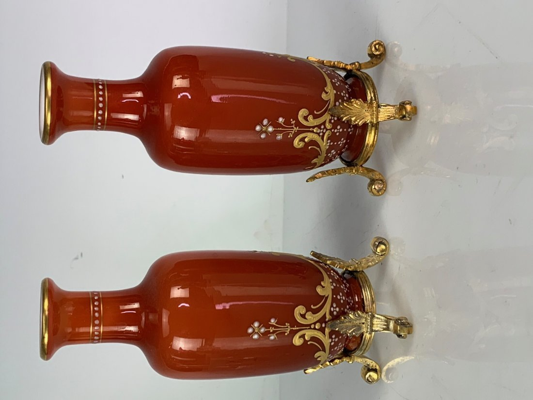 A PAIR OF BACCARAT GLASS & SILVER VASES - 2