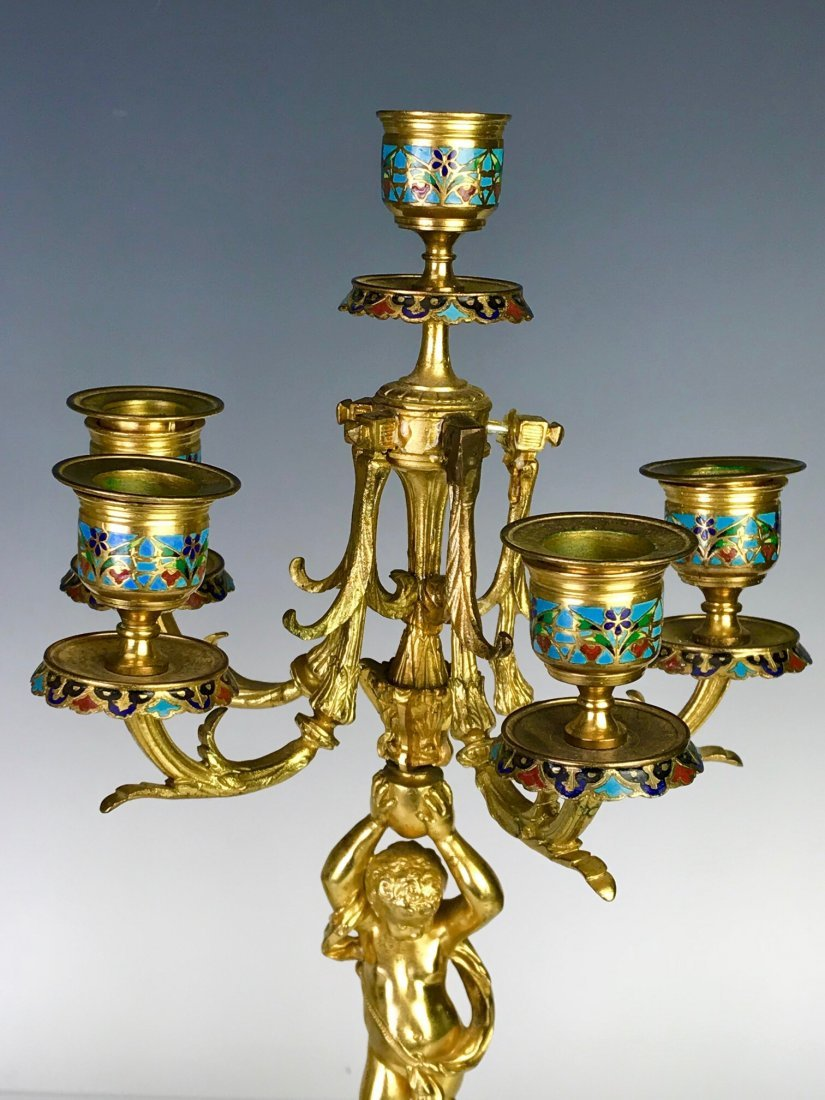 A PAIR OF 19TH C. FRENCH CHAMPLEVE ENAMEL CANDELABRA - 3