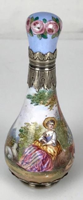 19TH C. VIENNESE ENAMEL SILVER PERFUME BOTTLE - 2