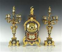 VERY FINE CHAMPLEVE ENAMEL CLOCK SET BY ETIENNE MAXANT