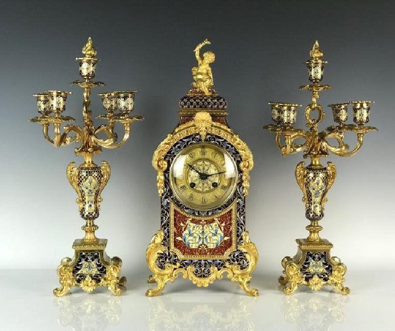VERY FINE CHAMPLEVE ENAMEL CLOCK SET BY ETIENNE MAXANT