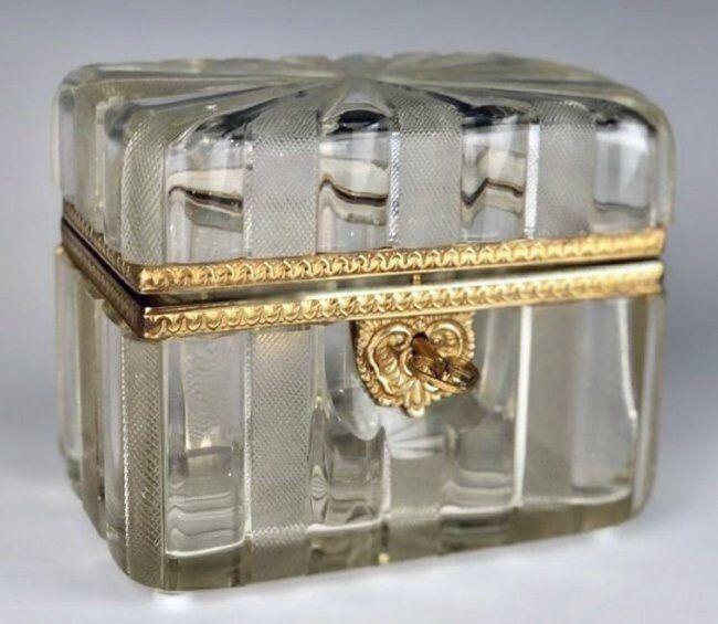 19TH C. ORMOLU MOUNTED BACCARAT CRYSTAL BOX