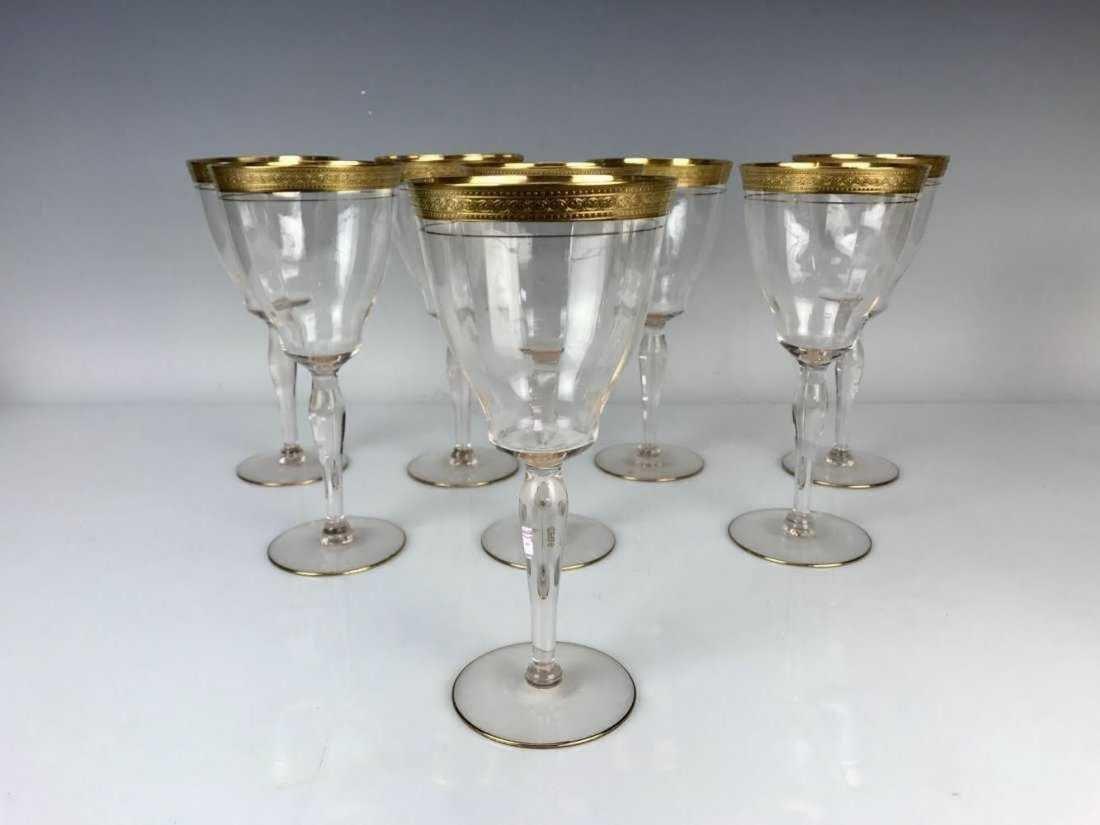 SET OF 8 LARGE GILT MOSER WINE GLASSES CIRCA 1900