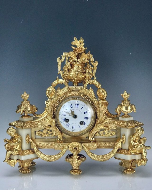 19TH C. FRENCH DORE BRONZE FIGURAL CLOCK