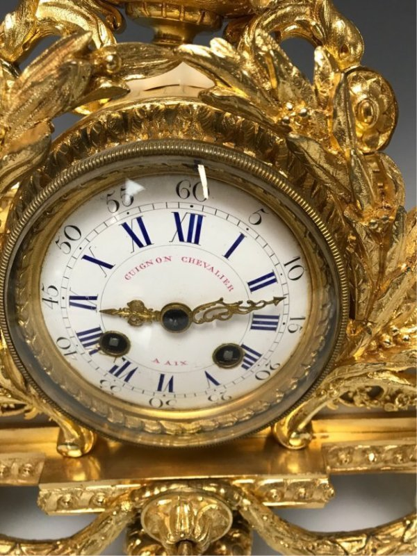 19TH C. FRENCH DORE BRONZE FIGURAL CLOCK - 2