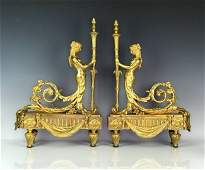 A LARGE PAIR OF EMPIRE STYLE DORE BRONZE ANDIRONS