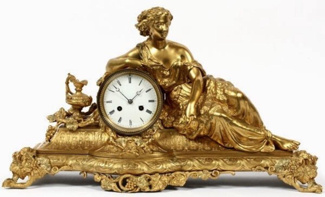 LOUIS XVI STYLE D'ORE BRONZE FIGURAL MANTEL CLOCK