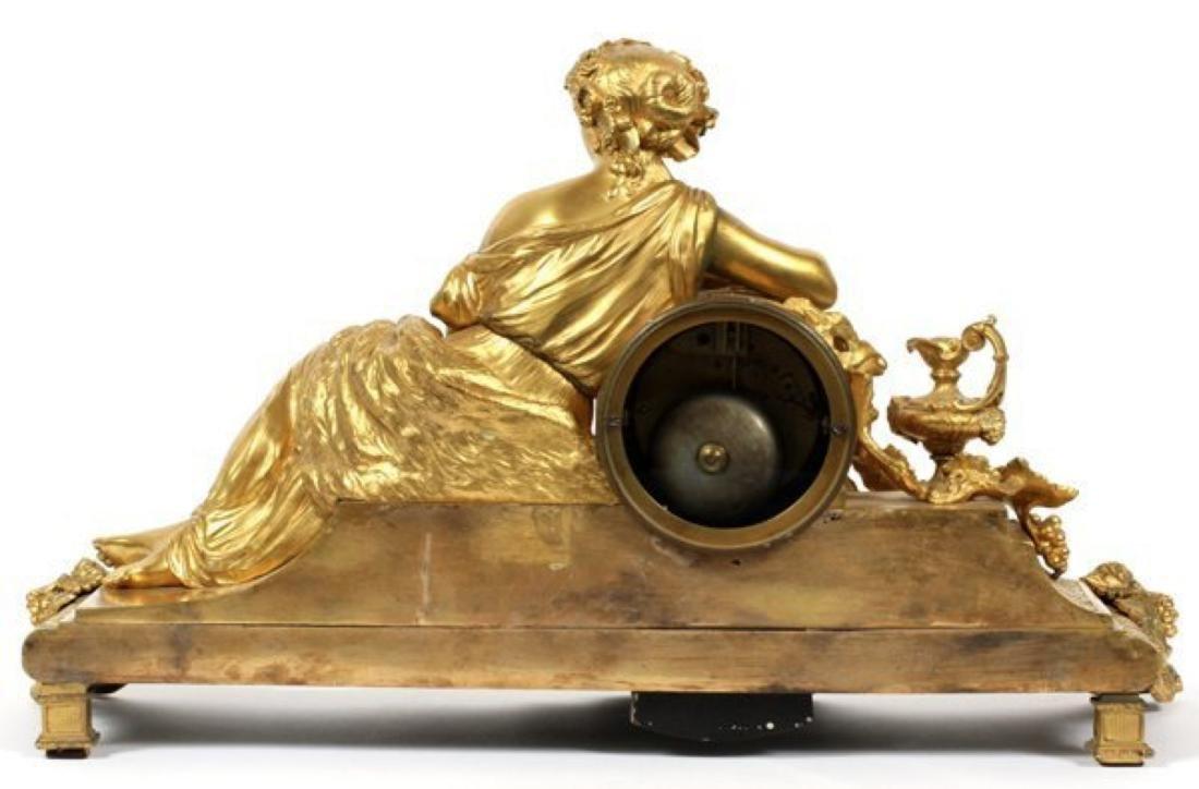LOUIS XVI STYLE D'ORE BRONZE FIGURAL MANTEL CLOCK - 3