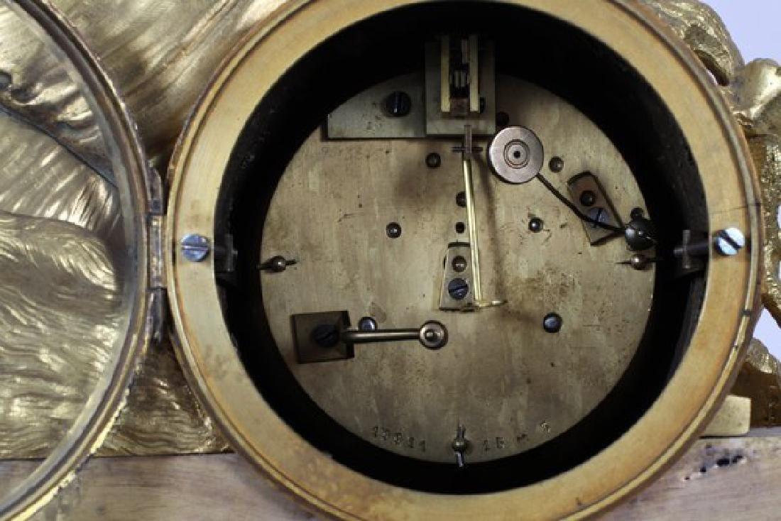 LOUIS XVI STYLE D'ORE BRONZE FIGURAL MANTEL CLOCK - 4