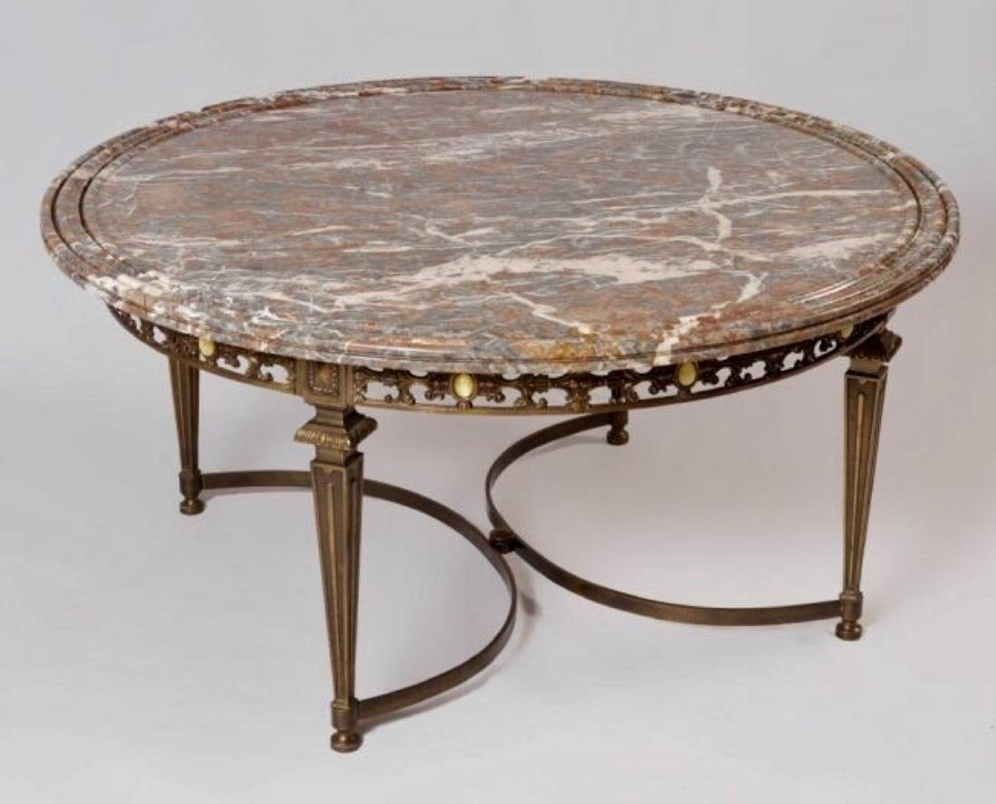 MARBLE TOP COFFEE TABLE WITH GILT METAL BASE