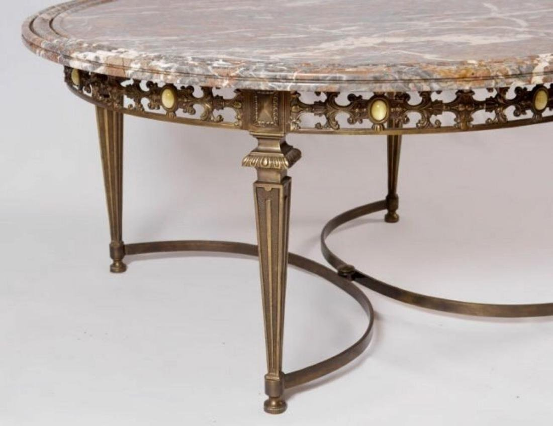 MARBLE TOP COFFEE TABLE WITH GILT METAL BASE - 2