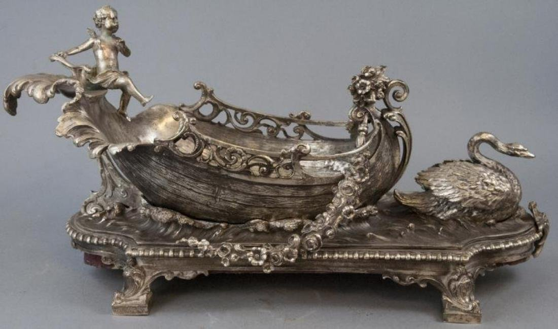 LARGE FRENCH SILVER PLATE BRONZE CENTERPIECE