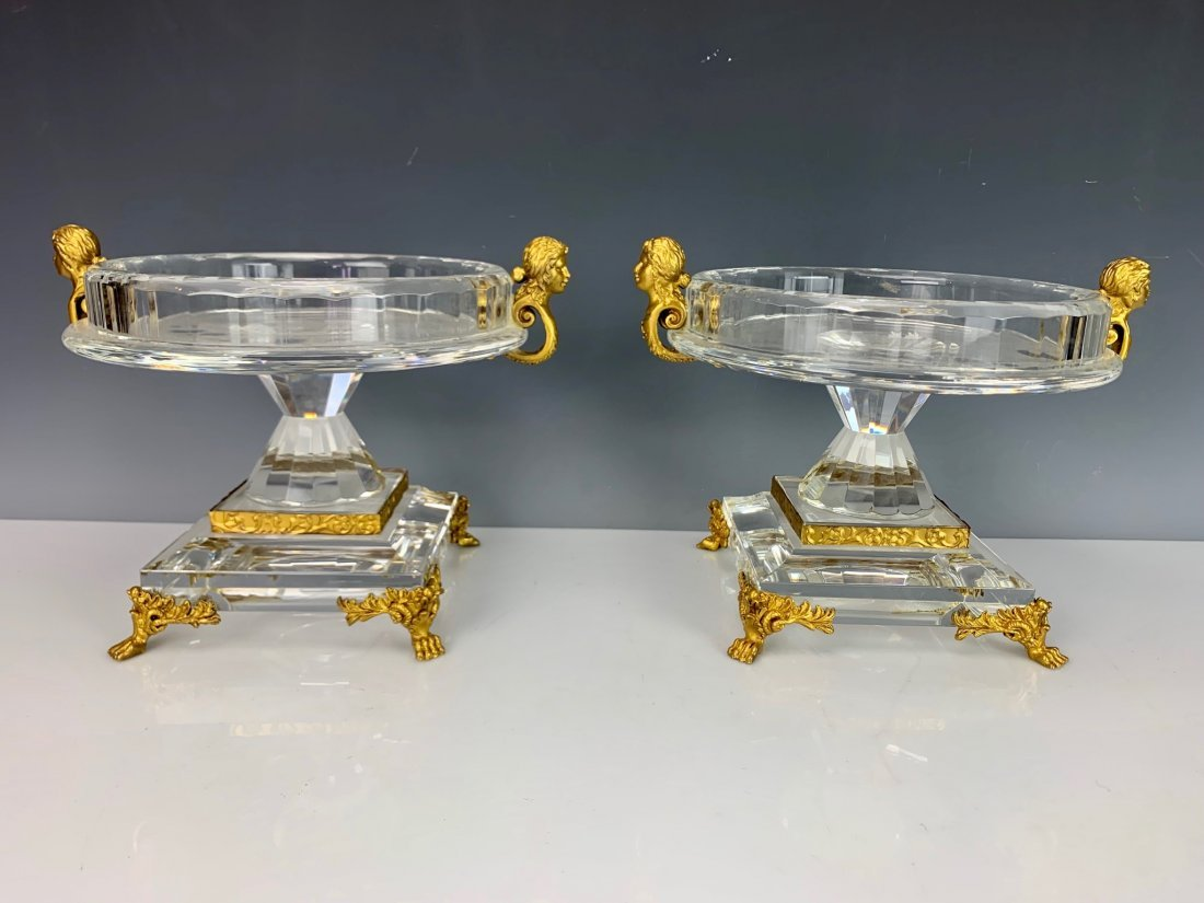 FINE PAIR OF ORMOLU MOUNTED CUT CRYSTAL COMPOTES