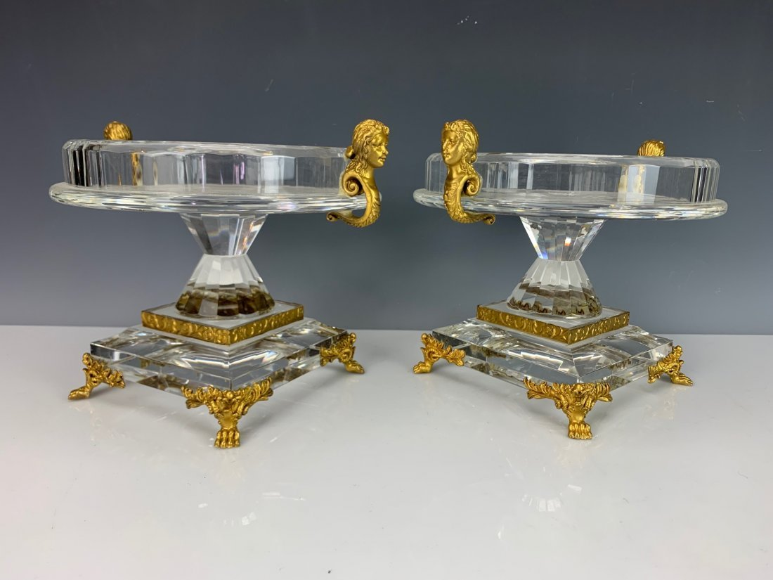 FINE PAIR OF ORMOLU MOUNTED CUT CRYSTAL COMPOTES - 2