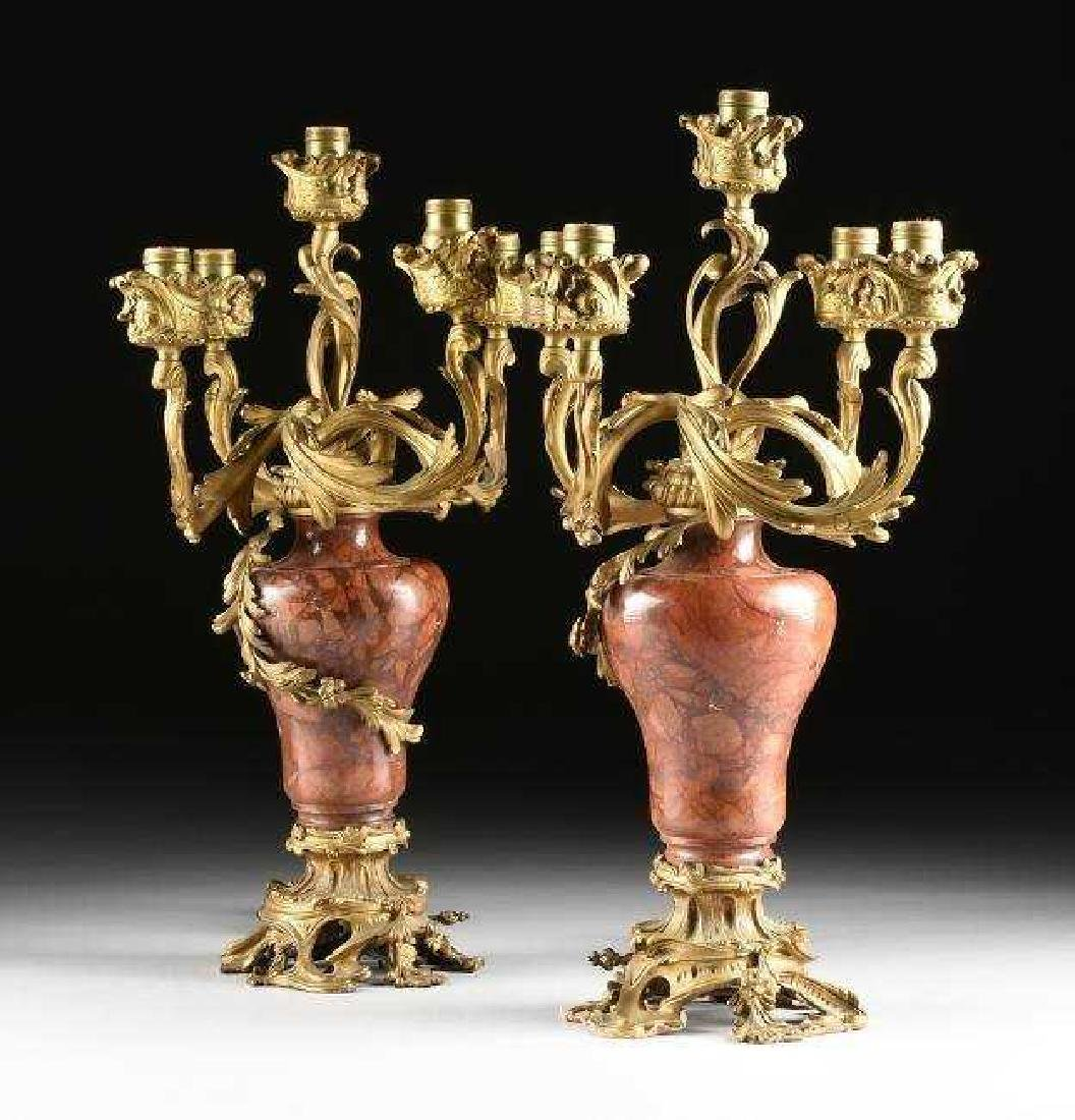 A GOOD PAIR OF DORE BRONZE & ROUGES MARBLE CANDELABRA